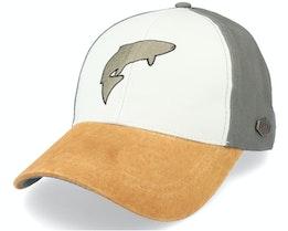 Salmon Cotton White/Olive/Suede Adjustable - MJM Hats
