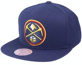 Denver Nuggets Team Ground Navy Snapback - Mitchell & Ness