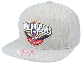 New Orleans Pelicans Team Heather HWC Grey Heather Snapback - Mitchell & Ness