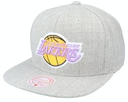 Los Angeles Lakers Team Heather HWC Grey Heather Snapback - Mitchell & Ness