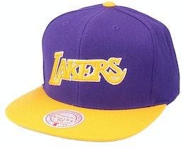 Los Angeles Lakers Wool 2 Tone Hwc Purple/Gold Snapback - Mitchell & Ness