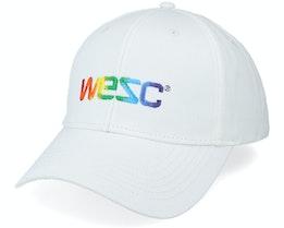 Rainbow Embroidered Logo Baseball Hat White Adjustable - Wesc