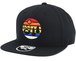 Sunset Logo Black Snapback - Bearded Man