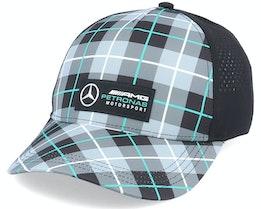 Mercedes Logo Cap Checkered Grey/Black Adjustable - Formula One