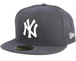 New York Yankees MLB Basics Graphite/White 59Fifty Fitted - New Era
