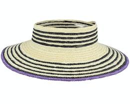 Joanna Light Tan/Black Visor Straw Hat - Brixton