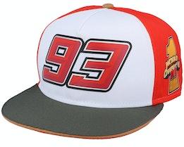 Moto GP Marc Marquez Eight Ball Cap White/Red/Charcoal Snapback - Moto GP