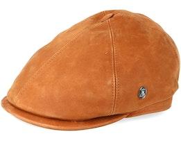 Leather Light Brown Flat Cap - City Sport