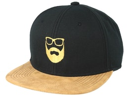Logo Black Suede Snapback - Bearded Man