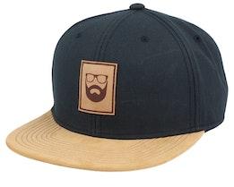 Logo Patch Black/Suede Snapback - Bearded Man