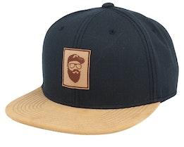Cap Man Patch Black/Suede Snapback - Bearded Man