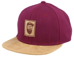 Cap Man Patch Maroon/Suede Snapback - Bearded Man