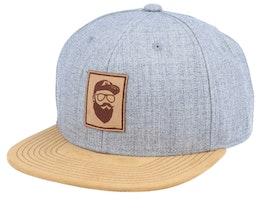 Cap Man Patch Grey/Suede Snapback - Bearded Man