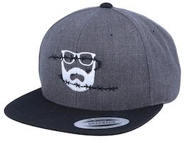 Wire Logo Charcoal/Black Snapback - Bearded Man