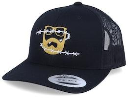 Wire Logo Black Trucker - Bearded Man