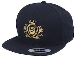 Golden Crest Black/Gold Snapback - Bearded Man