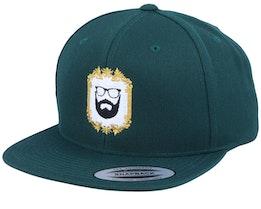 Classic Gold Frame Dark Green Snapback - Bearded Man