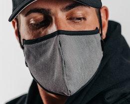 Antimicrobial Black Herringbone Face Mask - Brixton