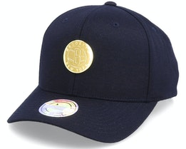 Hatstore Exclusive - Brooklyn Nets Gold Plate Black 110 Adjustable - Mitchell & Ness