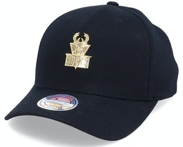 Hatstore Exclusive - Milwaukee Bucks Gold Plate Black 110 Adjustable - Mitchell & Ness