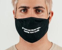 1-Pack Too Close Black Face Mask - Zeri