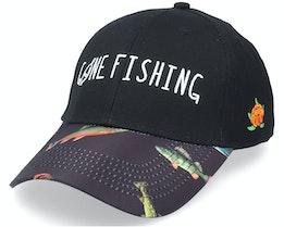 Gone Fishing Cap Hooked Black Adjustable - Sqrtn