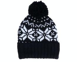 Fair Isle Snowstar® Beanie Black/White Pom - Beechfield
