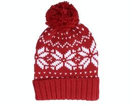 Fair Isle Snowstar® Beanie Red/White Pom - Beechfield