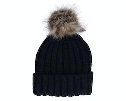 Fur Pop Chunky Beanie Black Pom - Beechfield
