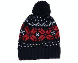 Fair Isle Snowstar® Beanie Black/Classic Red/White Pom - Beechfield