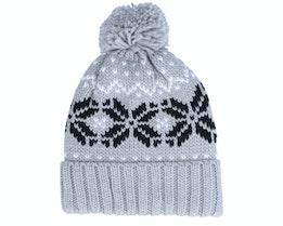 Fair Isle Snowstar® Beanie Light Grey/Black/Off White Pom - Beechfield