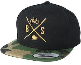 Souls Cross Coffe Black/Camo Gold Snapback - Bike Souls