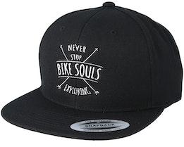 Never Stop Exploring Black Snapback - Bike Souls