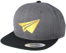 Plane Filled Charcoal/Black Snapback - Origami