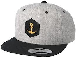 Hexagon Anchor Heather Grey Black Snapback - Jack Anchor
