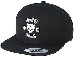 MC Skull Patch Black Snapback - Born To Ride