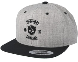 MC Skull Patch Grey/Black Snapback - Born To Ride