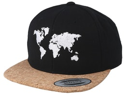 World Map Black/Cork Snapback - Bacpakr