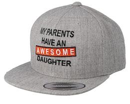 Kids Awesome Daughter Heather Grey Snapback - Kiddo Cap