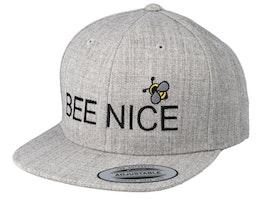 Kids Bee Nice Heather Grey Snapback - Kiddo Cap