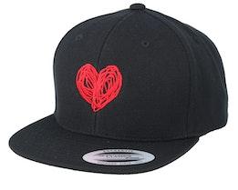 Kids Heart Black Snapback - Kiddo Cap