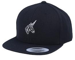 Kids Geometric Unicorn Black Snapback - Unicorns