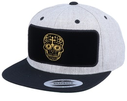 Day Of The Dead Velvet Patched Heather Grey Black Snapback - Tattoo Collective