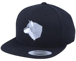 Grey Paper Wolf Black Snapback - Origami