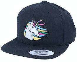 Rainbow Unicorn Black Snapback - Unicorns