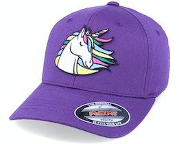 Kids Rainbow Unicorn Purple Flexfit - Unicorns