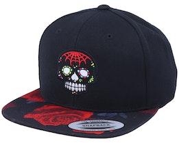 Dark Colors Skull Rose Red Black Snapback - Calaveras