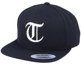 T Letter 3D Black Snapback - Iconic