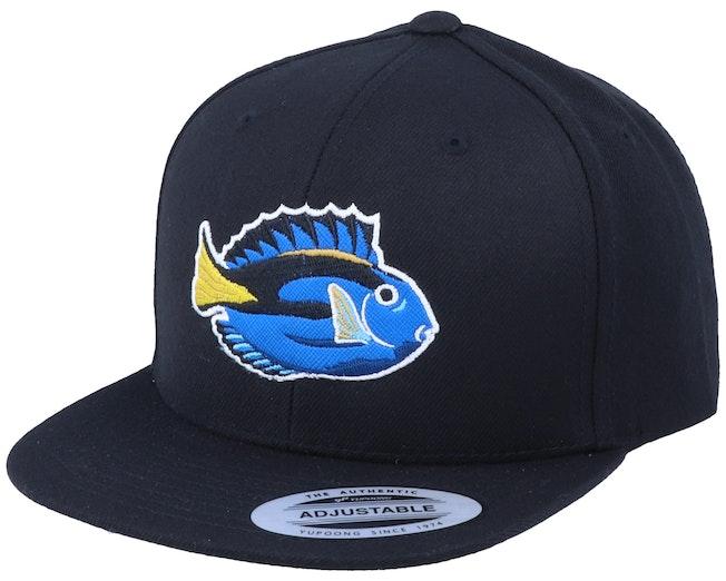 Kids Pacific Blue Tang Fish Black Snapback - Kiddo Cap