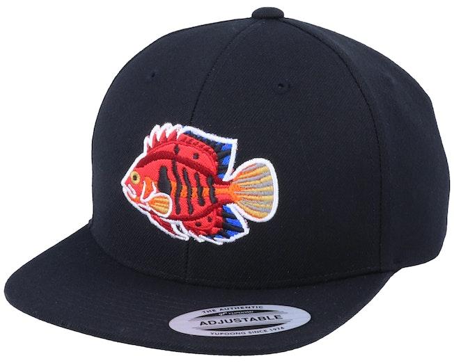 Kids Flame Angel Fish Black Snapback - Kiddo Cap